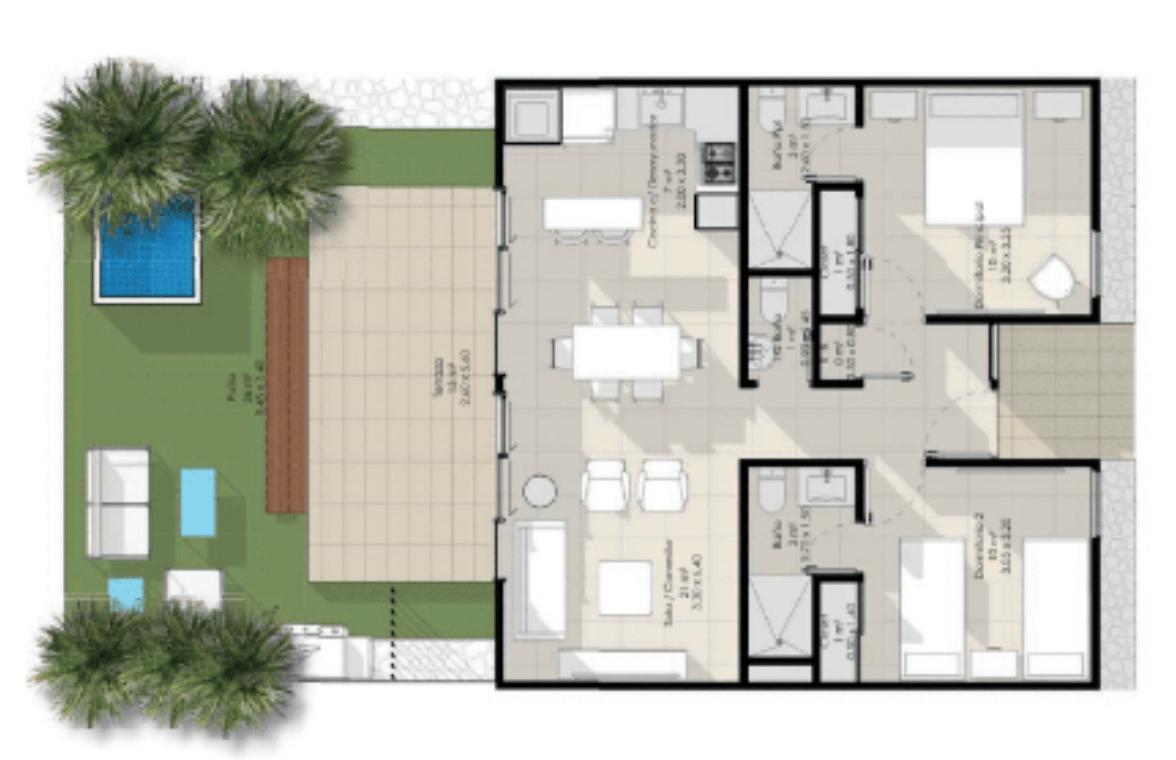 Apartamento de 2 habitaciones con patio en Vista Cana