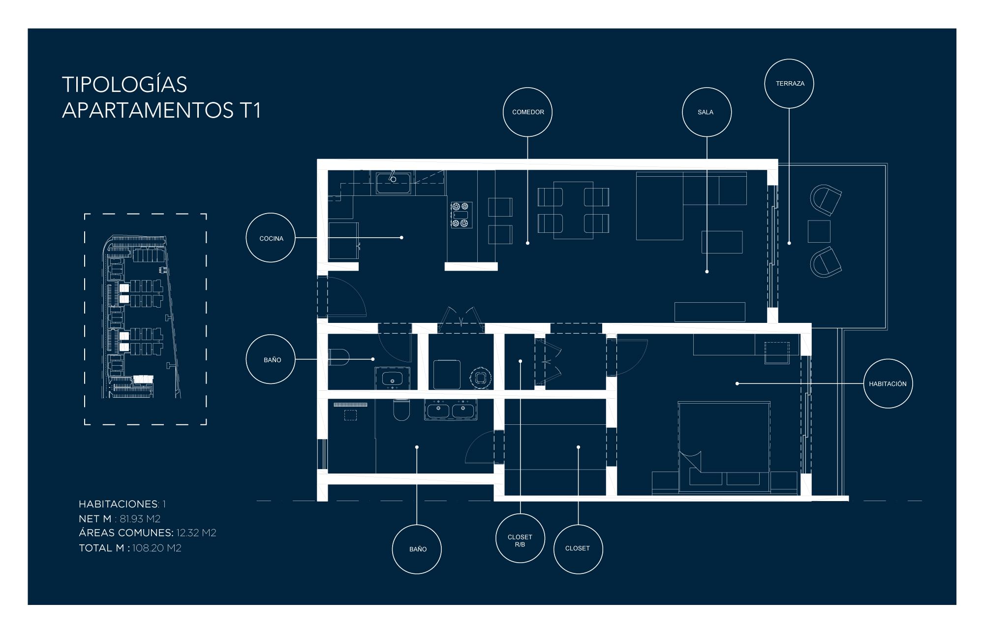 Tipología Apartamento T1 – 1 habitación