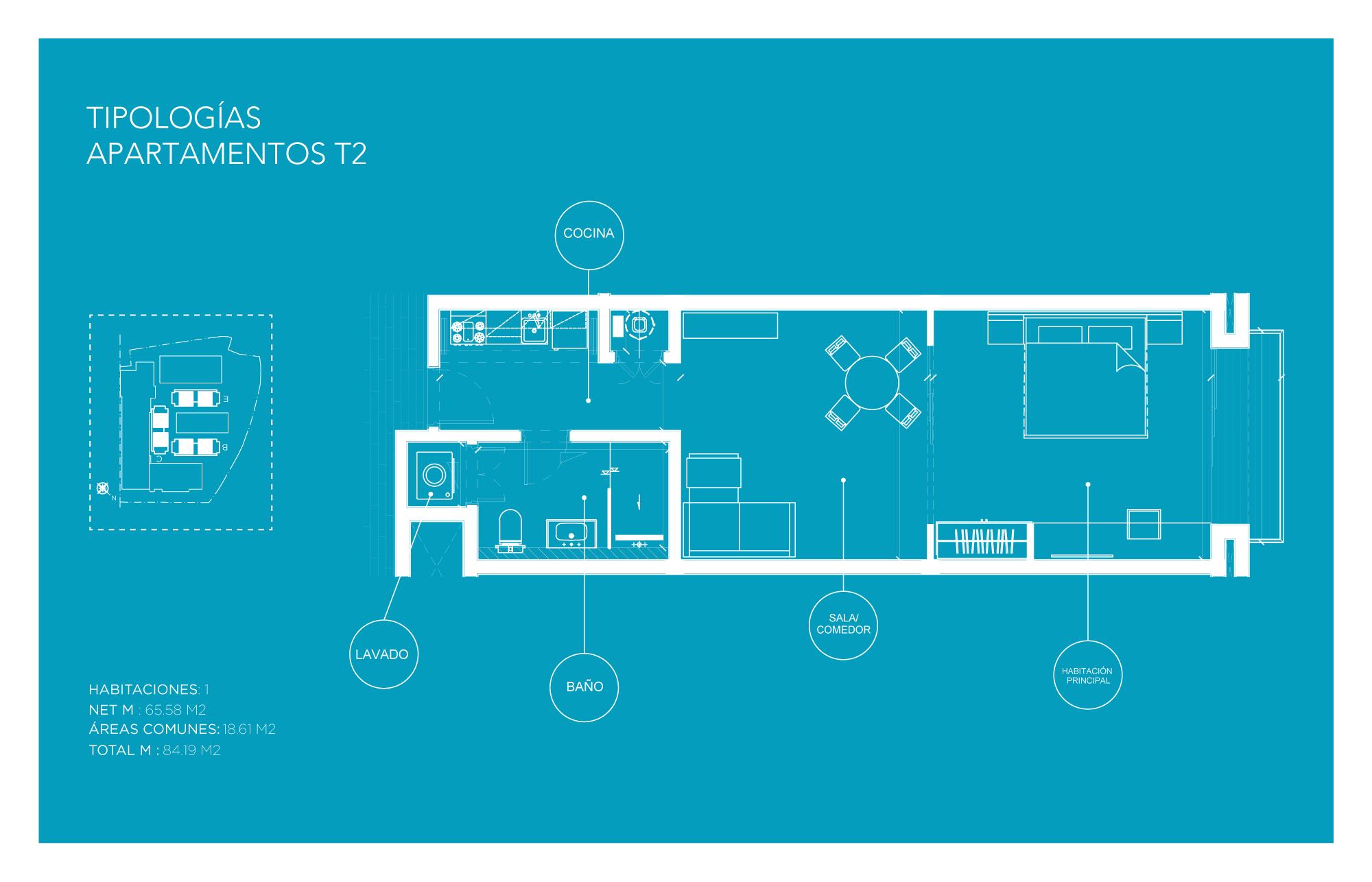 Tipología Apartamento T2 – 1 habitación