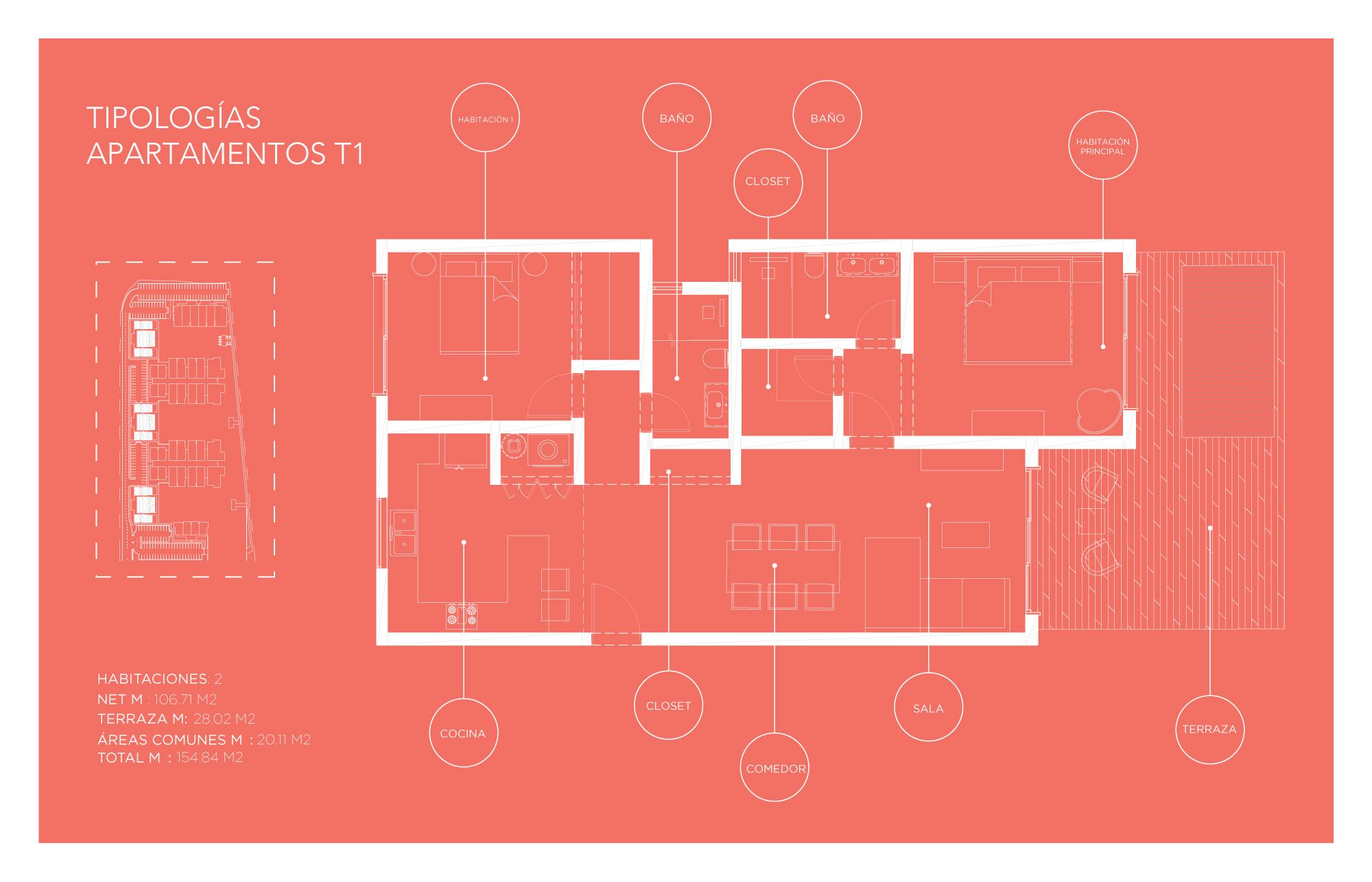 Tipología Apartamento T1 – 2 habitaciones