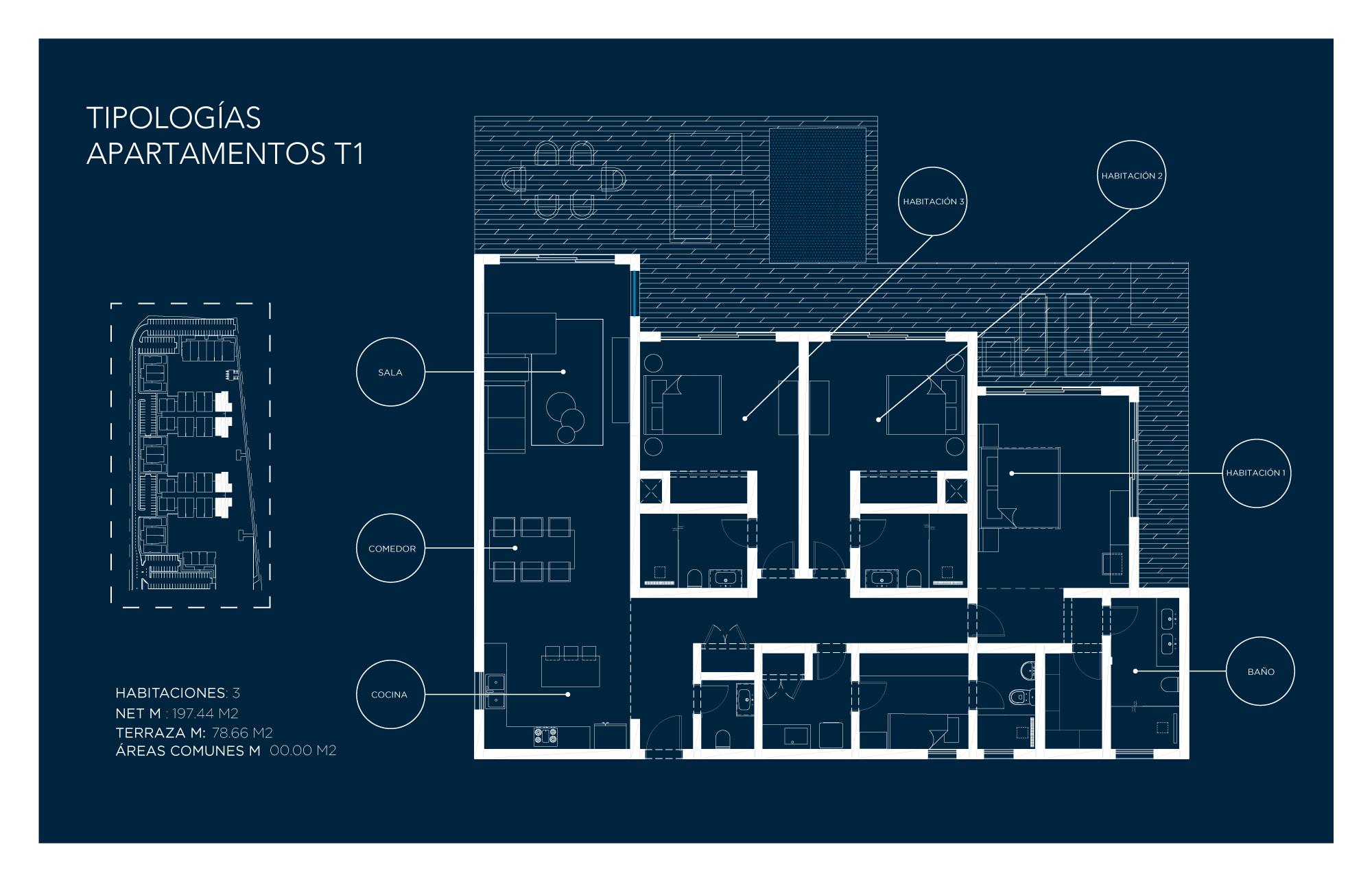 Tipología Apartamento T1 – 3 habitaciones